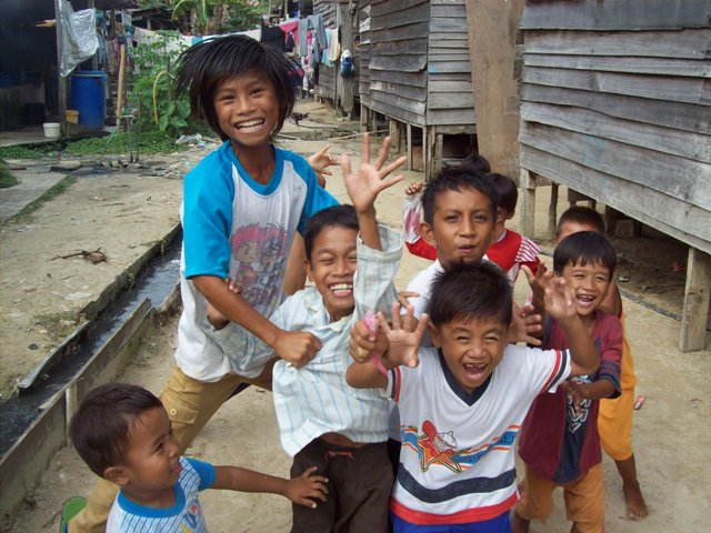 kids, group, happy, orang asli, squatters, people